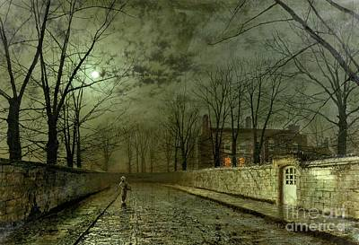 Street Painting - Silver Moonlight by John Atkinson Grimshaw