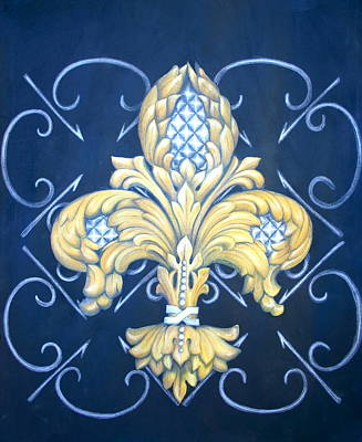Pineapple Mixed Media - Silver Pineapple Fleur De Lis by Jenny Abshier