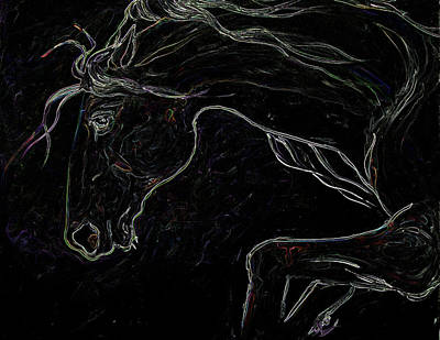 Painting - Silver Steed Night by Laurie Pace