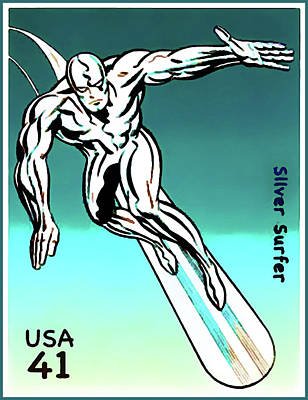 Silver Background Painting - Silver Surfer by Lanjee Chee