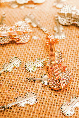 Glitter Photograph - Silver Violin Pendant With Diamonds by Jorgo Photography - Wall Art Gallery