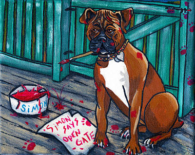 Boxer Painting - Simon Says by Laura Brightwood
