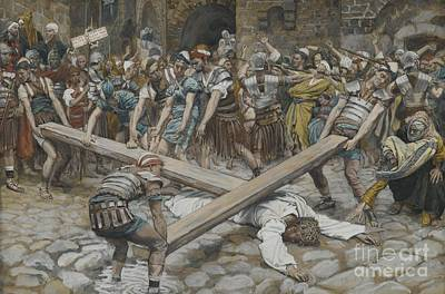 Jesus Face Painting - Simon The Cyrenian Compelled To Carry The Cross With Jesus by Tissot