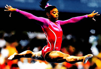 African-american Mixed Media - Simone Biles by Brian Reaves