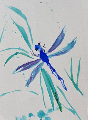 Subconscious Painting - Simple Blue Dragonfly by Beverley Harper Tinsley