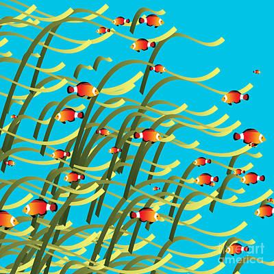 Clown Fish Digital Art - Simple Underwater Scene by Gaspar Avila