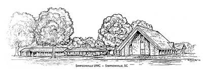 Churches Drawing - Simpsonville Umc by Greg Joens