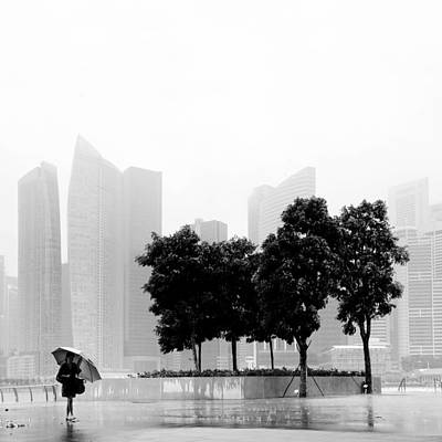 Rain Photograph - Singapore Umbrella by Nina Papiorek