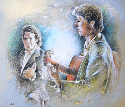 Singer Drawing - Singer And Guitarist Flamenco by Miki De Goodaboom