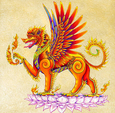 Thai Drawing - Singha Winged Lion by Rebecca Wang