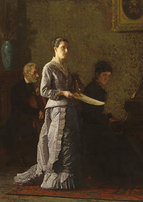 1880s Painting - Singing A Pathetic Song by Thomas Cowperthwait Eakins