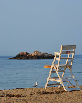 Singing Beach Lifeguard Chair Manchester By The Sea Ma Print by Toby McGuire
