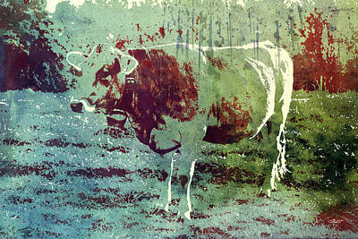 Single Cow Print by Jutta Maria Pusl