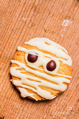 Single Homemade Mummy Cookie For Halloween Print by Jorgo Photography - Wall Art Gallery