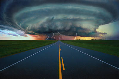 Lightning Bolt Photograph - Single Lane Road Leading To Storm Cloud by Don Hammond