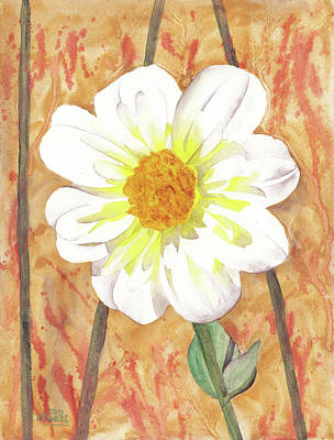 Watercolor Painting - Single White Flower by Ken Powers