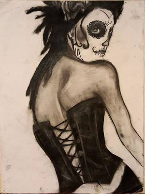 Sugar Skull Girl Drawing - Sinner by Shelby Thomas