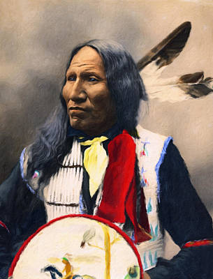 Sioux Chief Portrait Print by Georgiana Romanovna