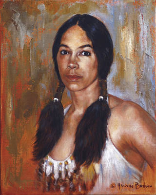 Sioux Painting - Sioux Woman by Harvie Brown