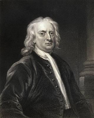 Newton Drawing - Sir Isaac Newton 1642-1727. English by Vintage Design Pics