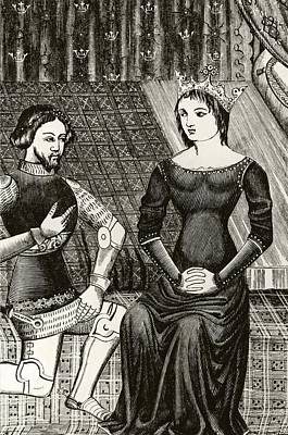 Knight Drawing - Sir Lancelot Kneels In Front Of Queen by Vintage Design Pics
