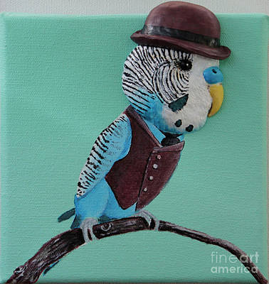 Parakeet Mixed Media - Sir Watson Reginald Ichabod Rover Cornelius Waterford IIi by Rhi Johnson