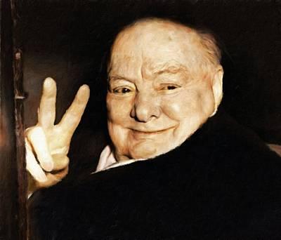 Statesmen Digital Art - Sir Winston Churchill Victory by Vincent Monozlay