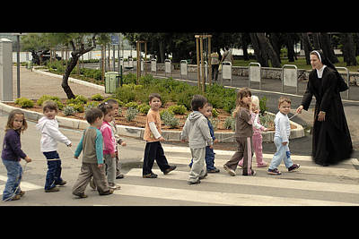 Crosswalk Photograph - Sister Andrja Walking Her Students by Don Wolf