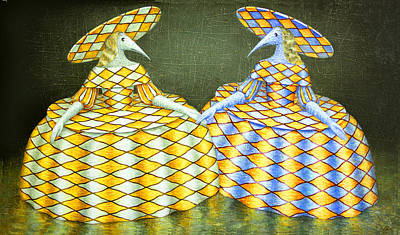 Birdman Painting - Sisters by Lolita Bronzini