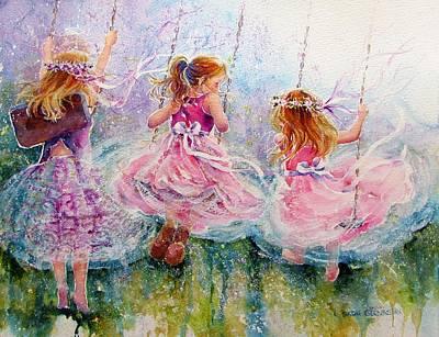 Swing Painting - Sisters by Nicole Gelinas
