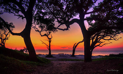 Sit With Me Driftwood Beach Sunrise Jekyll Island Georgia Print by Reid Callaway