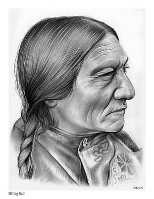 Indian Chief Drawing - Sitting Bull by Greg Joens