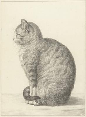 Cat Painting - Sitting Cat by Jean Bernard