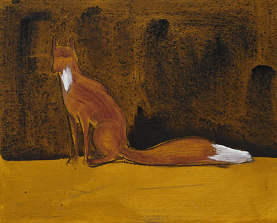 Sitting Fox In Iron Oxide And Lime Print by Sophy White