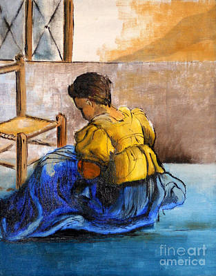 Youthful Painting - Sitting Girl By George Wood by Karen Adams