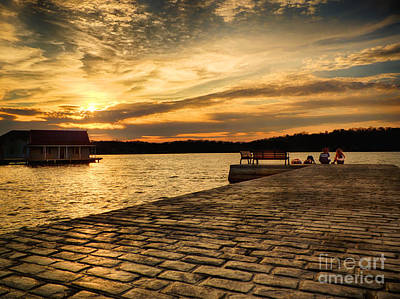 Sitting On The Dock Of The Lake Print by Mark Miller