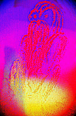 Sitting On The Light Spot Feeling Blue  Print by Hilde Widerberg