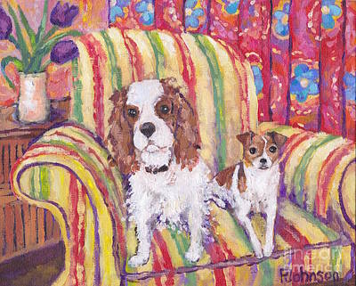 Dog Painting - Sitting Pretty by Peggy Johnson