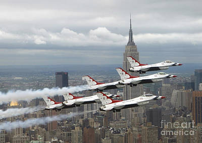 Six F-16 Fighting Falcons With The U.s Print by Stocktrek Images