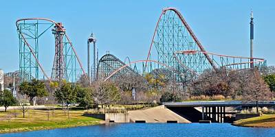 Roller Coaster Photograph - Six Flags Of Dallas by Frozen in Time Fine Art Photography