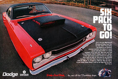 Six Pack To Go - 1969 Dodge Coronet Super Bee Print by Digital Repro Depot