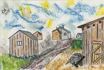 Six Wooden Sheds Print by Lill Curth