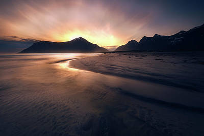 Lofoten Photograph - Skagsanden Sunrise by Tor-Ivar Naess
