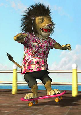 Listening Digital Art - skateboarding Lion by Martin Davey