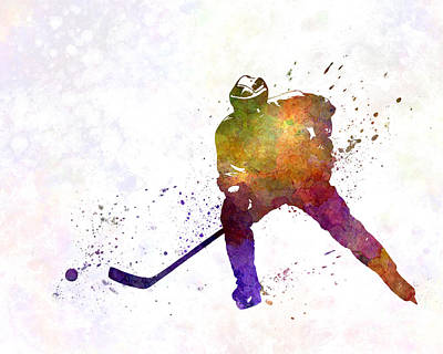 Skater Of Hockey In Watercolor Print by Pablo Romero