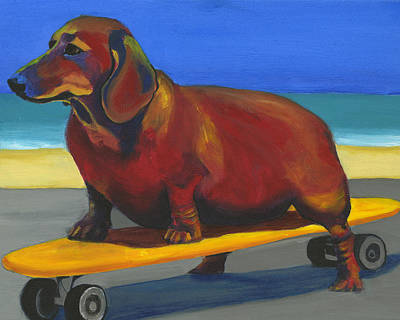 Skateboarding Painting - Skaterdog by Debbie Brown