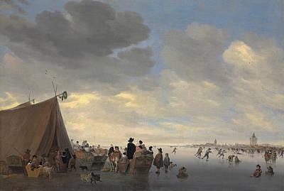 Skating Painting - Skaters On The Frozen River Lek, The Town Of Vianen Beyond by Salomon van Ruisdael or Ruysdael