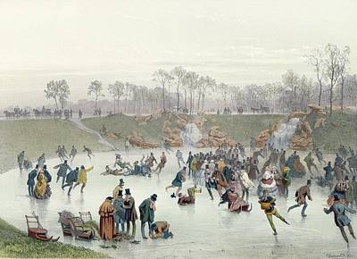 Winter Scenes Painting - Skaters On The Lake At Bois De Boulogne by Ice Skaters on the Lake at Bois de Boulogne