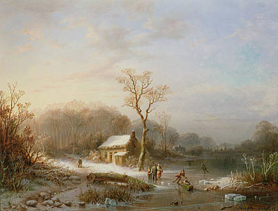 Winter Scenes Painting - Skating Scene by Henri Cleenewerck