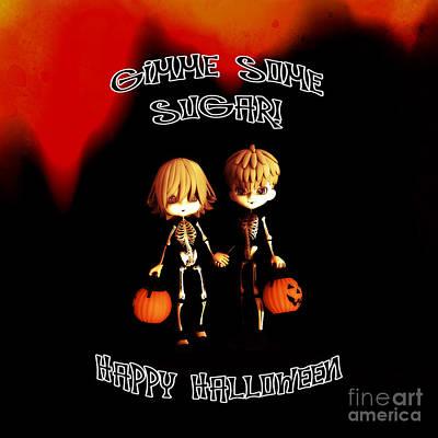 Jack-o-lantern Digital Art - Skeleton Twinz Halloween by Methune Hively